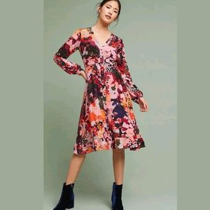 NEW Anthropologie Printed Silk Wrap Dress by Maeve